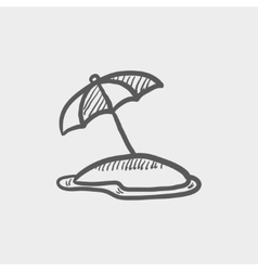 Beach umbrella sketch icon vector
