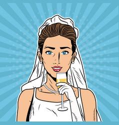 Beautiful bride pop art cartoon internet security vector