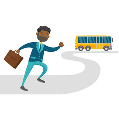 black latecomer man running for the bus vector image