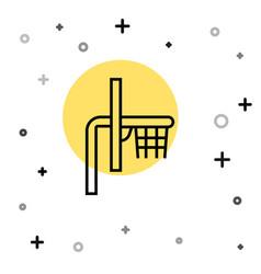 Black line basketball backboard icon isolated on vector