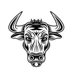 Bull head monochrome in vector