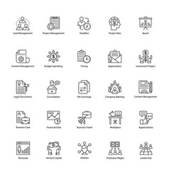 Business management line icons pack vector