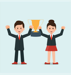 businessman and businesswoman holding winning vector image
