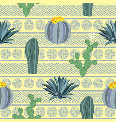 cacti seamless pattern with geometric background vector image
