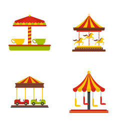 Carousel carnival horse icons set flat style vector