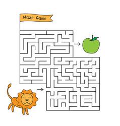 Cartoon lion maze game vector