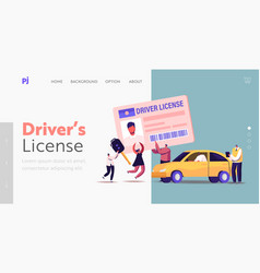 Characters getting driver license landing page vector