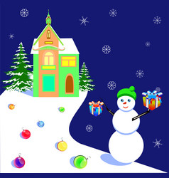christmas and new year with a vector image
