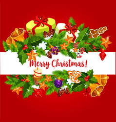 Christmas holidays wish greeting card vector