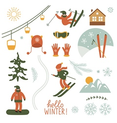 Christmas set elements Ski resort vector