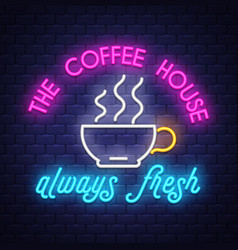 coffee- neon sign on brick wall background vector image
