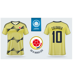 Colombia soccer jersey or football kit mockup vector