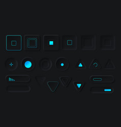 control buttons with neon backlight set vector image