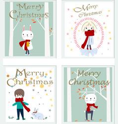 cute merry christmas cartoon card vector image