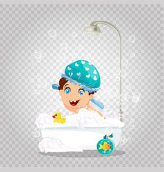 cute smiling boy in washing hat taking bath vector image