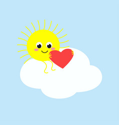 cute sun sitting on a cloud and holding a heart vector image