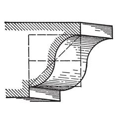 Cyma recta a roman moulding vintage engraving vector