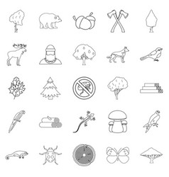 Dendritic icons set outline style vector