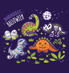 Dinosaurs in costumes for halloween vector