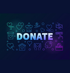 Donate colored horizontal outline banner vector