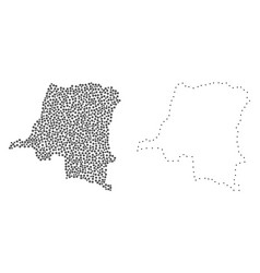 dot contour map of democratic republic of the vector image