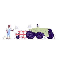 Driverless tractor flat autonomous agricultural vector