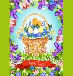 easter paschal eggs basket greeting card vector image