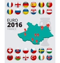 Euro 2016 in france flags of european countries vector