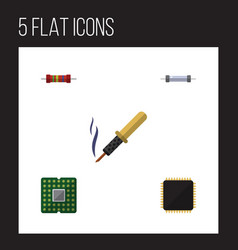 flat icon technology set of unit repair cpu and vector image