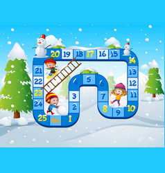 Game template with kids playing in snow background vector