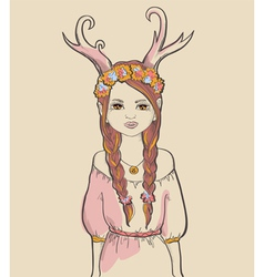 Girl with horns astrological sign capricorn vector