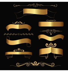 gold ribbons and ornaments vector image vector image