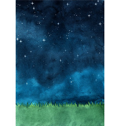 Grass meadow with night sky watercolor vector