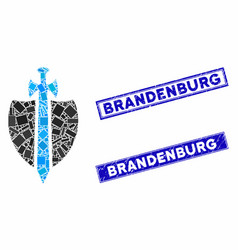 Guard mosaic and grunge rectangle brandenburg vector