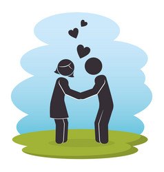 happy couple parents characters vector image