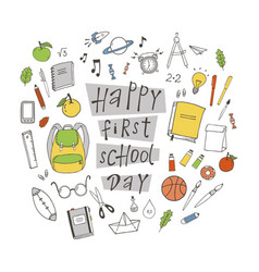 Happy first school day vector