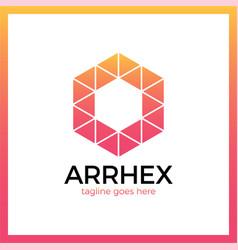 Hexagon triangle arrow logo polygonal logotype vector