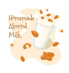 Homemade almond milk splash in a glass with whole vector