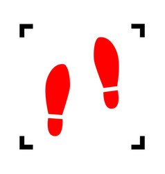 Imprint soles shoes sign red icon inside vector