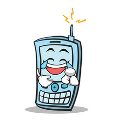 Joy face phone character cartoon style vector