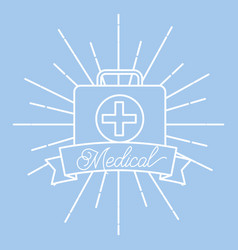 kit first aid medical supply healthcare vector image