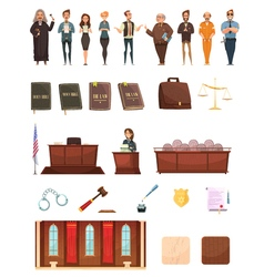 Law Justice Retro Cartoon Icons Set vector
