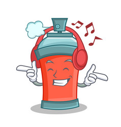 Listening music aerosol spray can character vector