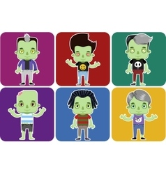 Male Zombie Avatar set vector