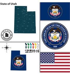 Map utah with seal vector