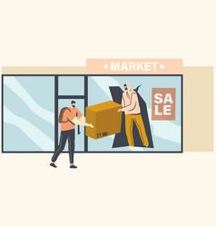 Masked looters stealing goods through broken store vector