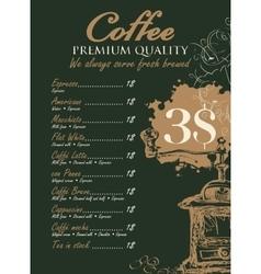 Menu for coffee grinder vector