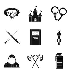 Military issue icons set simple style vector
