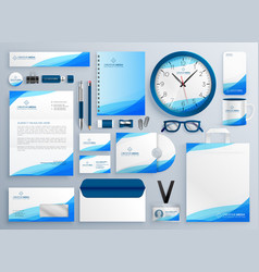 Modern blue business stationery template set vector