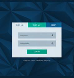 modern login form template for your web design vector image